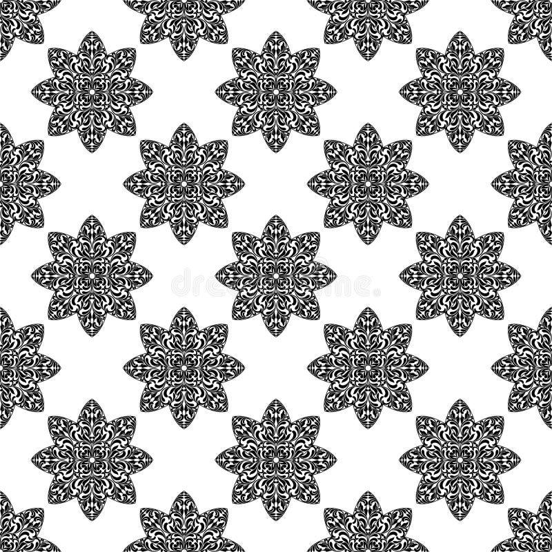 Nahtloses Muster mit aufwändigen dekorativen Blumen auf einem weißen Hintergrund stock abbildung