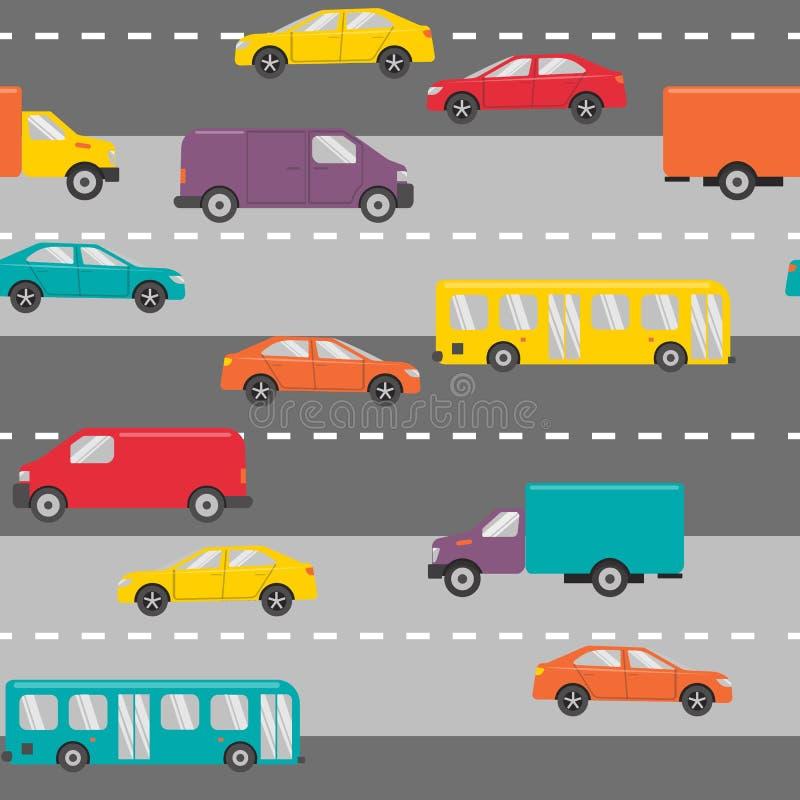 Nahtloses Muster mit Autos auf der Straße lizenzfreie abbildung