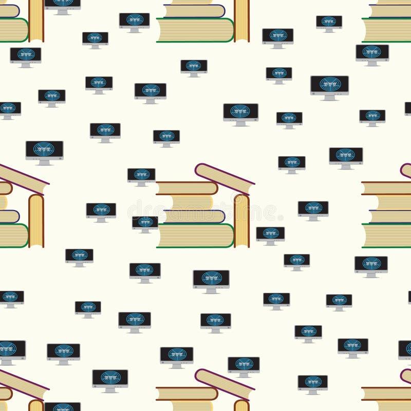 Nahtloses Muster mit Büchern und Computer mit Internet stock abbildung