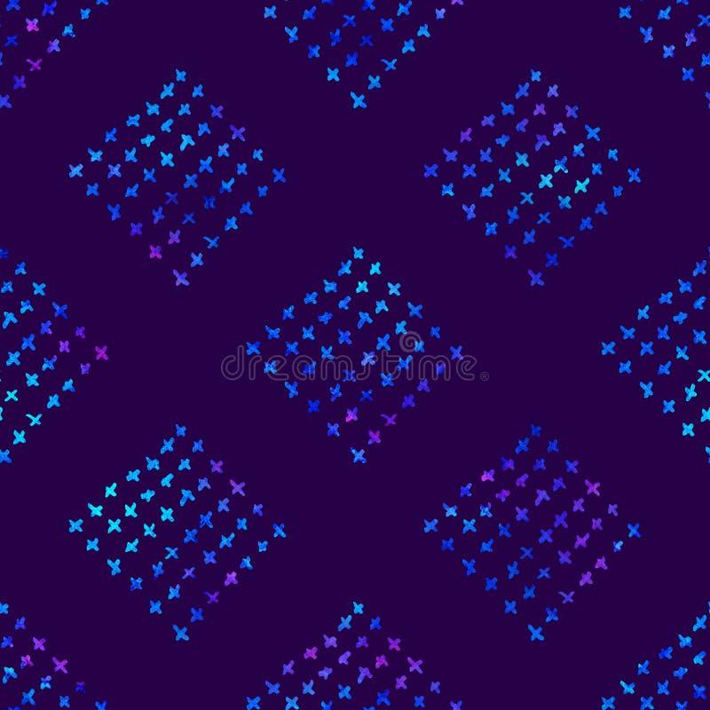 Nahtloses Muster mit Bürstengekritzel und -quadrat Blaue Aquarellfarbe auf violettem Hintergrund Handgemalte Gutshofbeschaffenhei stock abbildung