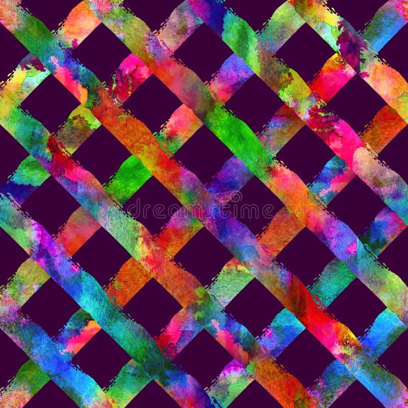 Nahtloses Muster mit Bürstenstreifenplaid Regenbogenaquarellfarbe auf violettem Hintergrund Zeichnende gebürtige Gutshofbeschaffe lizenzfreie abbildung