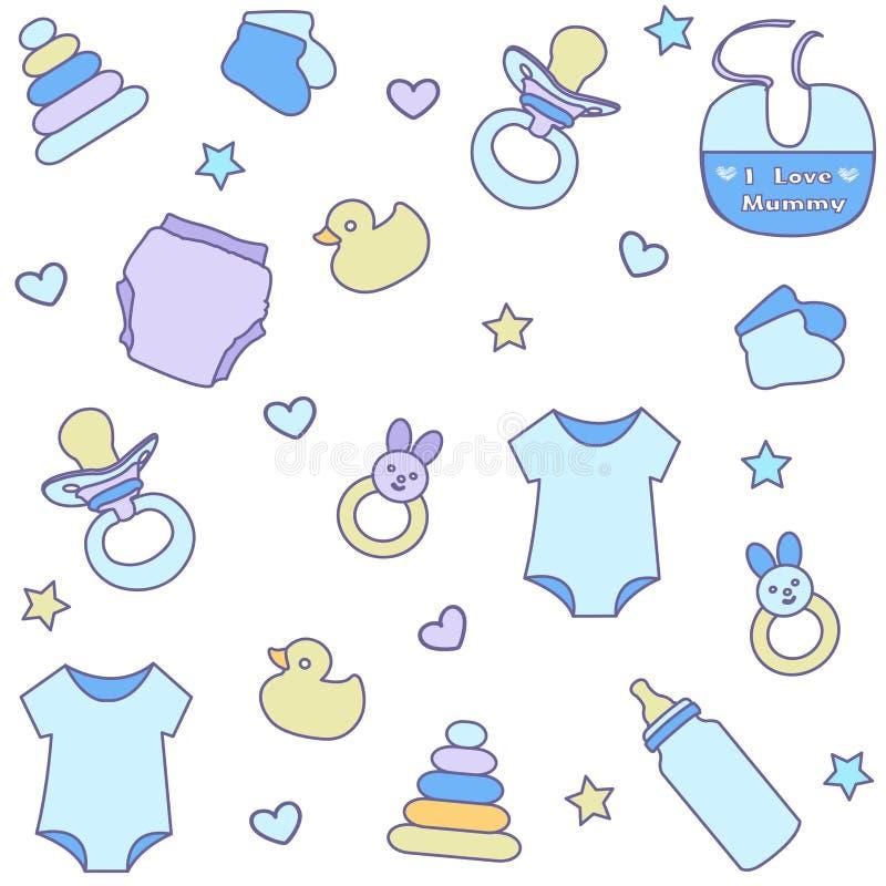 Nahtloses Muster mit Babyeinzelteilen Neugeborene Kleidung und Zubehör stock abbildung