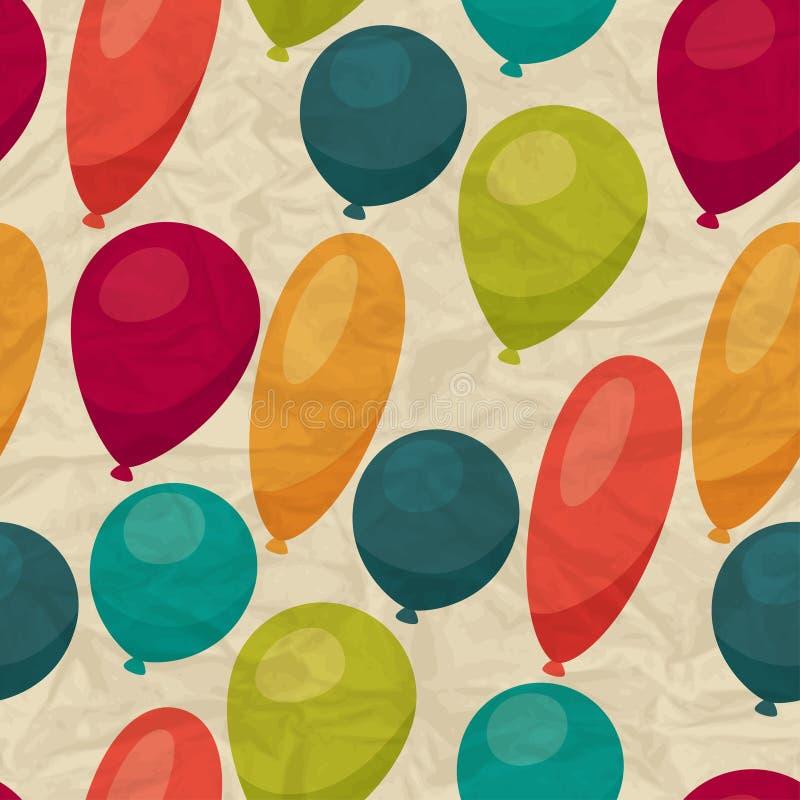 Nahtloses Muster mit Ballonen auf zerknittertem Papier lizenzfreie abbildung