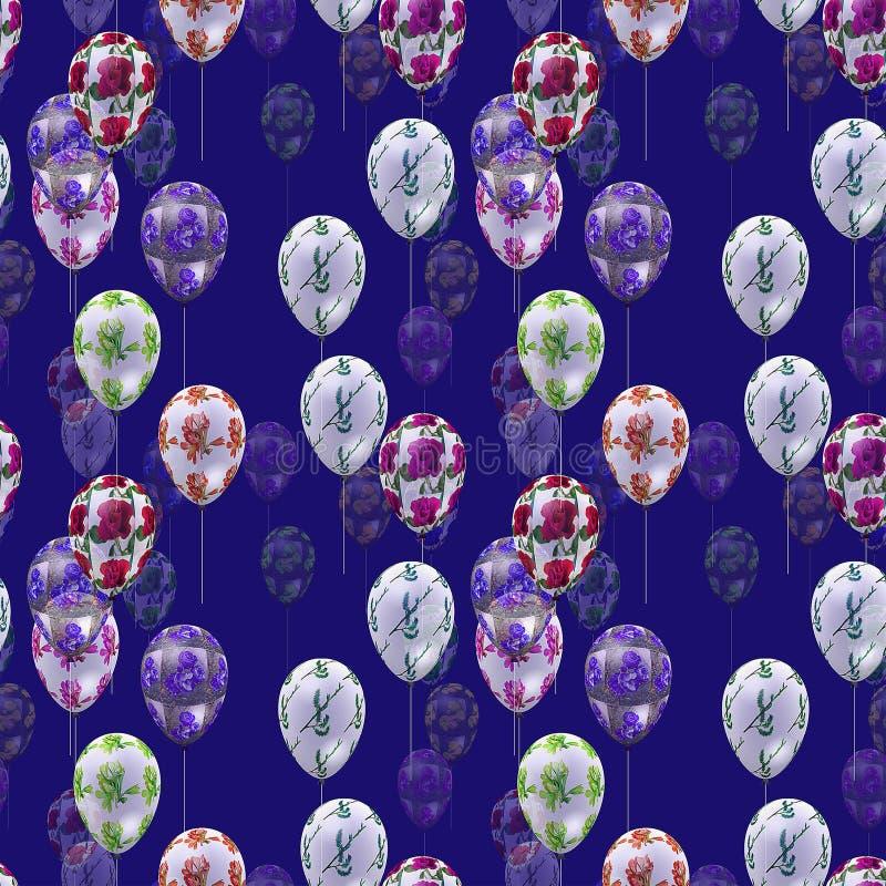 Nahtloses Muster mit Ballonen im nächtlichen Himmel vektor abbildung