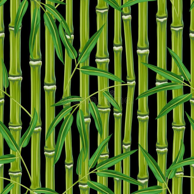 Nahtloses Muster mit Bambusanlagen und Blättern lizenzfreie abbildung