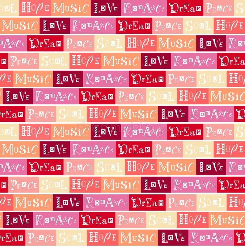 Nahtloses Muster mit Beschriftung der Liebe, Frieden, Traum, Seele, Hoffnung, Musik, Romance auf buntem Hintergrund vektor abbildung