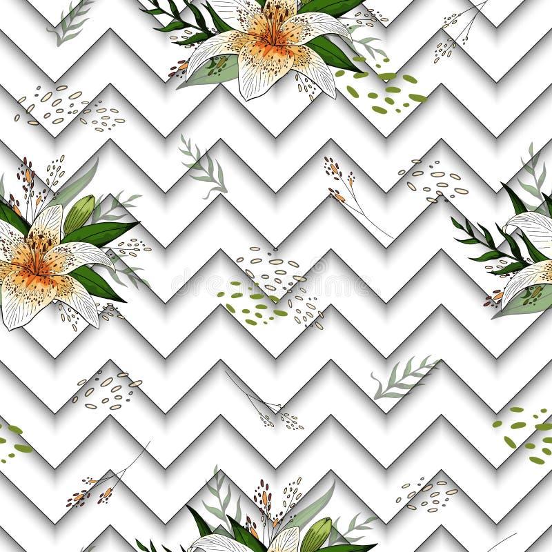 Nahtloses Muster mit Bildtigerlilienblumen auf einem geometrischen Hintergrund lizenzfreie abbildung