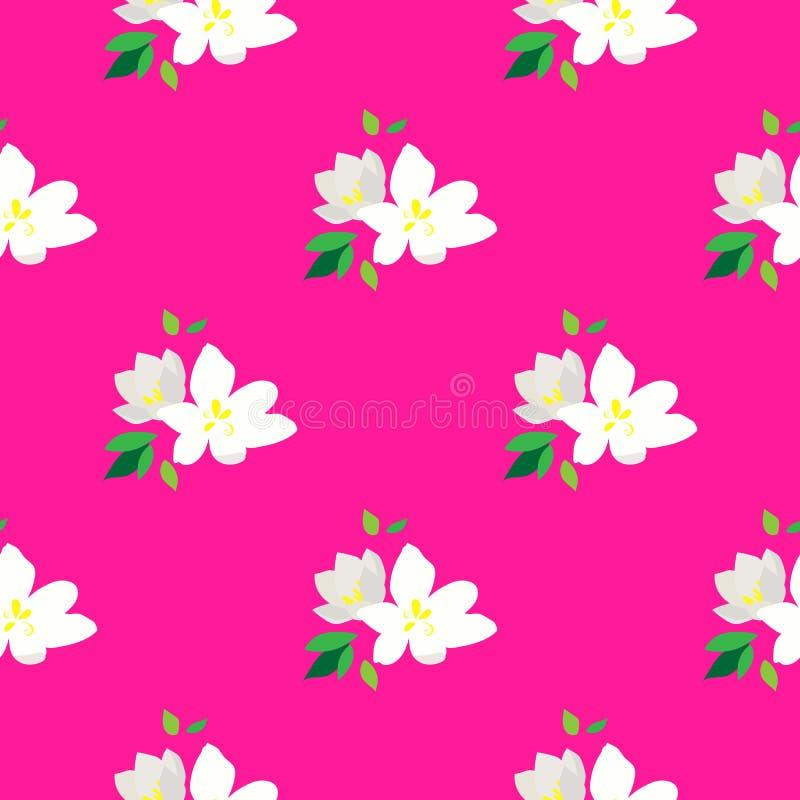 Nahtloses Muster mit blühenden Niederlassungen der Kirsche Weiße Blumen und Knospen auf einem rosa Hintergrund Blühende Japan-Kir vektor abbildung