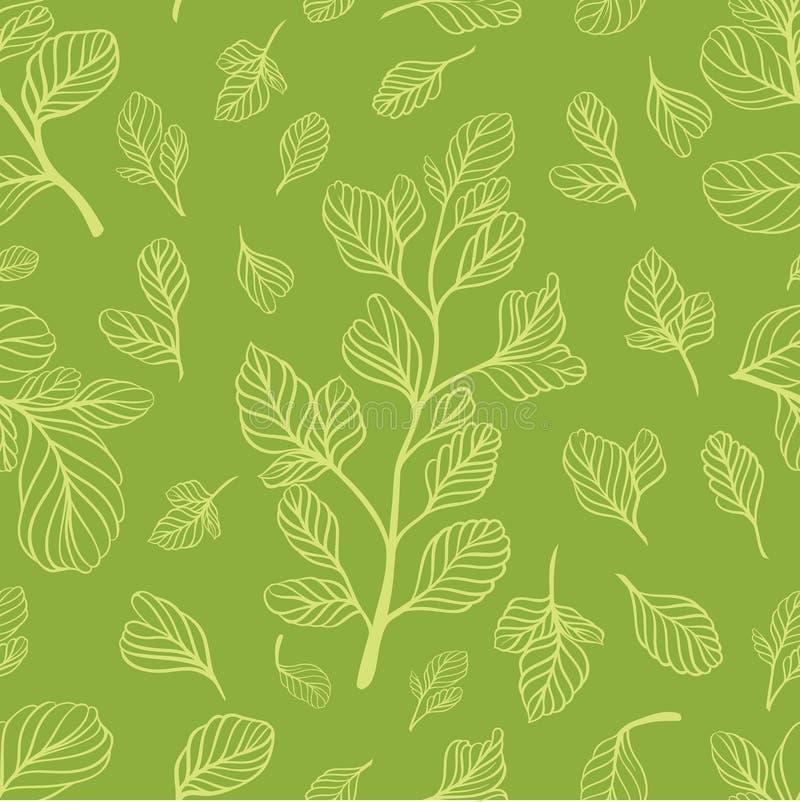 Nahtloses Muster mit Blättern auf der hellgrünen Farbe stockbild