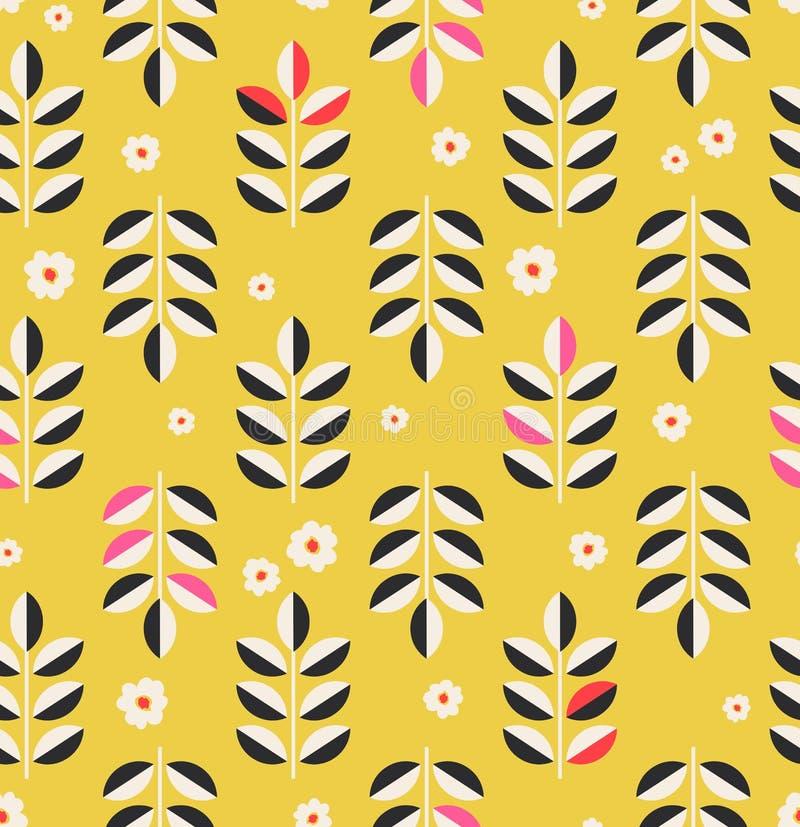 Nahtloses Muster mit Blättern und Blüten stock abbildung