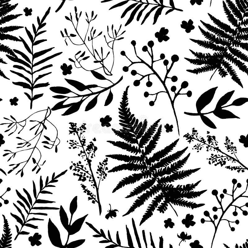 Nahtloses Muster mit Blättern Vektorblumensatz mit der Hand gezeichnet stock abbildung