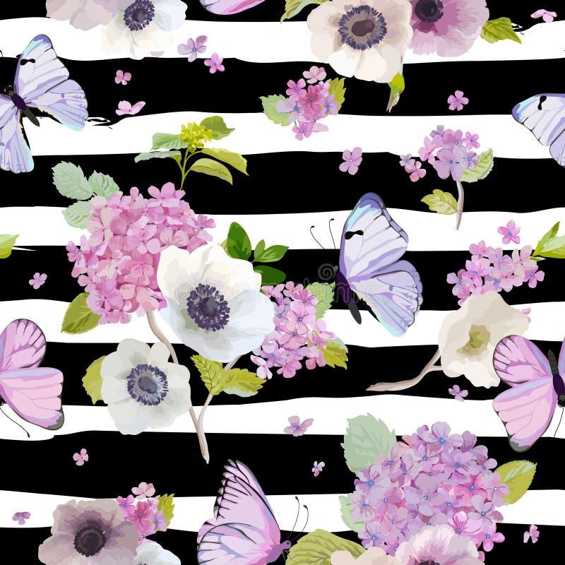Nahtloses Muster mit blühenden Hortensie-Blumen und fliegenden Schmetterlingen in der Aquarell-Art Hintergrund für Gewebe stock abbildung