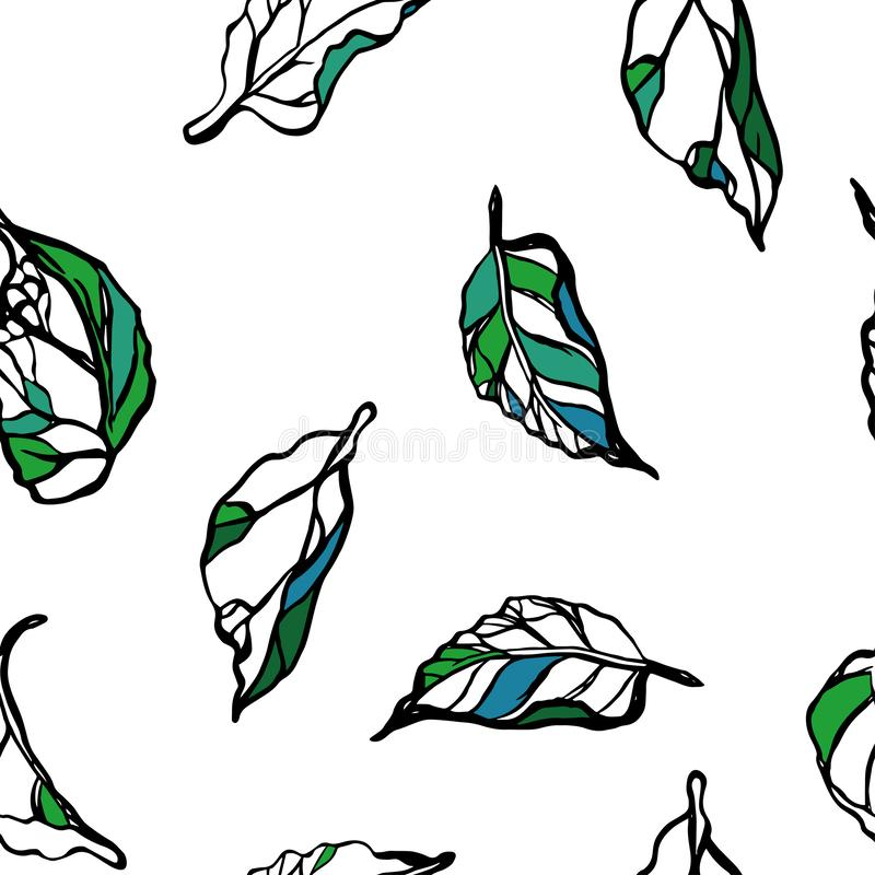 Nahtloses Muster mit Bl?ttern Muster 08 Wei?er Hintergrund lizenzfreie abbildung