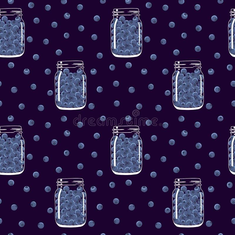 Nahtloses Muster mit Blaubeeren in den Weckgläsern stock abbildung