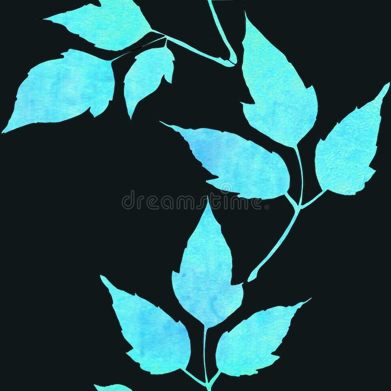 Nahtloses Muster mit blauen Bl?ttern des Aquarells lizenzfreie abbildung
