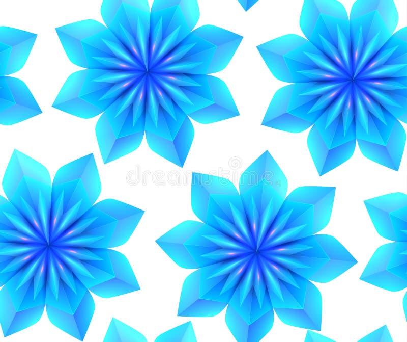 Nahtloses Muster mit blauen Schneeflocken des Origamis 3d auf einem weißen Hintergrund Vektorvorlage ist- zum Download betriebsbe lizenzfreie abbildung