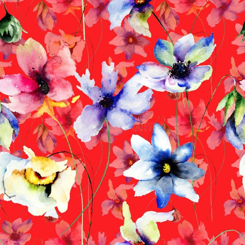 Nahtloses Muster mit Blumen lizenzfreie stockbilder