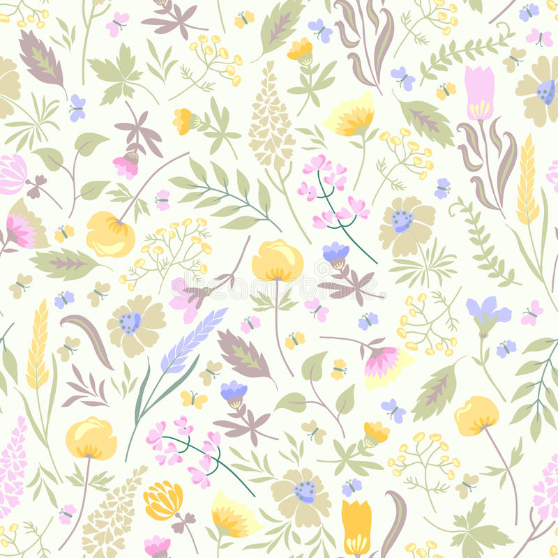 Nahtloses Muster mit Blumen lizenzfreie stockfotografie
