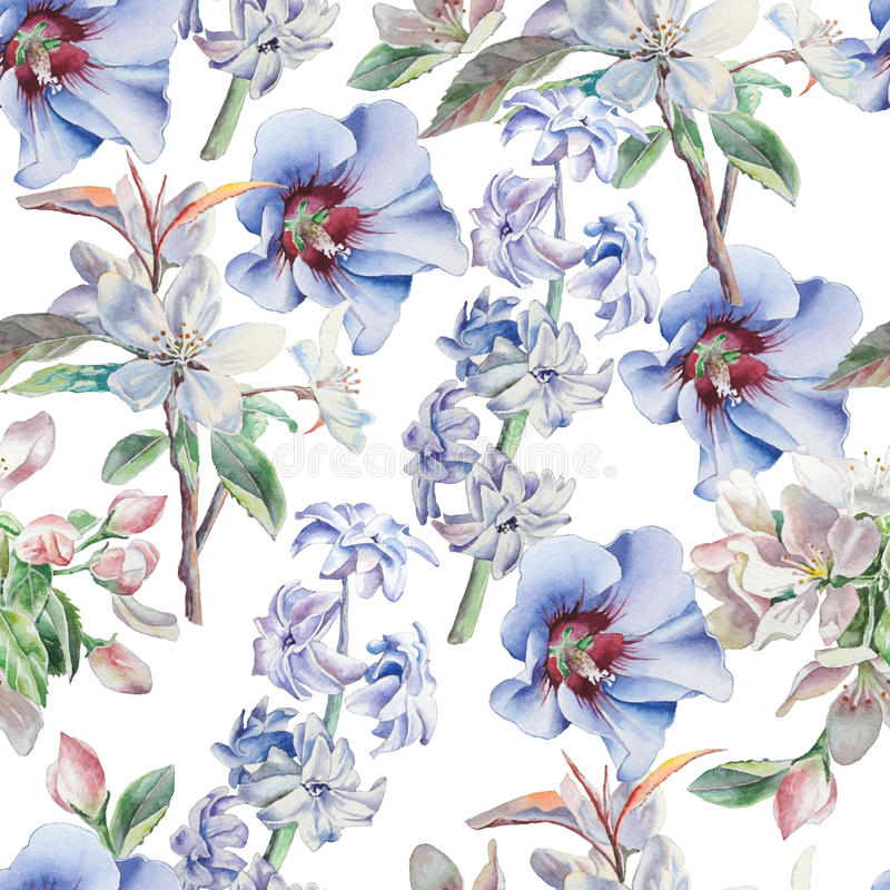 Nahtloses Muster mit Blumen Blüte Hyazinthe watercolor vektor abbildung