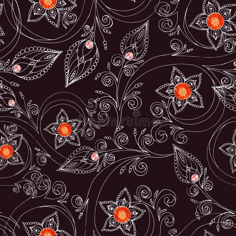 Nahtloses Muster mit Blumen, Gekritzeln und Rubinen lizenzfreie abbildung