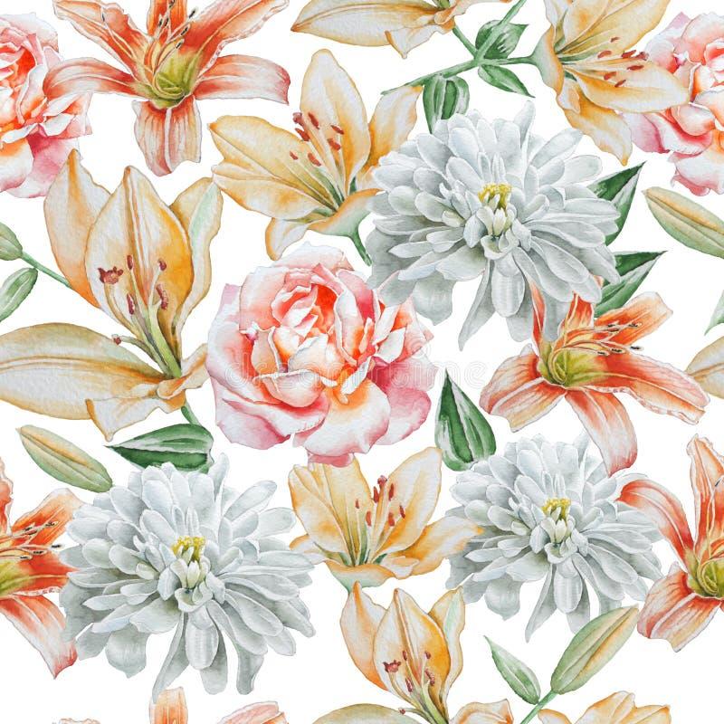 Nahtloses Muster mit Blumen Rose lilie chrysantheme watercolor lizenzfreie abbildung