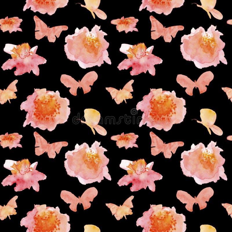 Nahtloses Muster mit Blumen und Basisrecheneinheiten lizenzfreie abbildung
