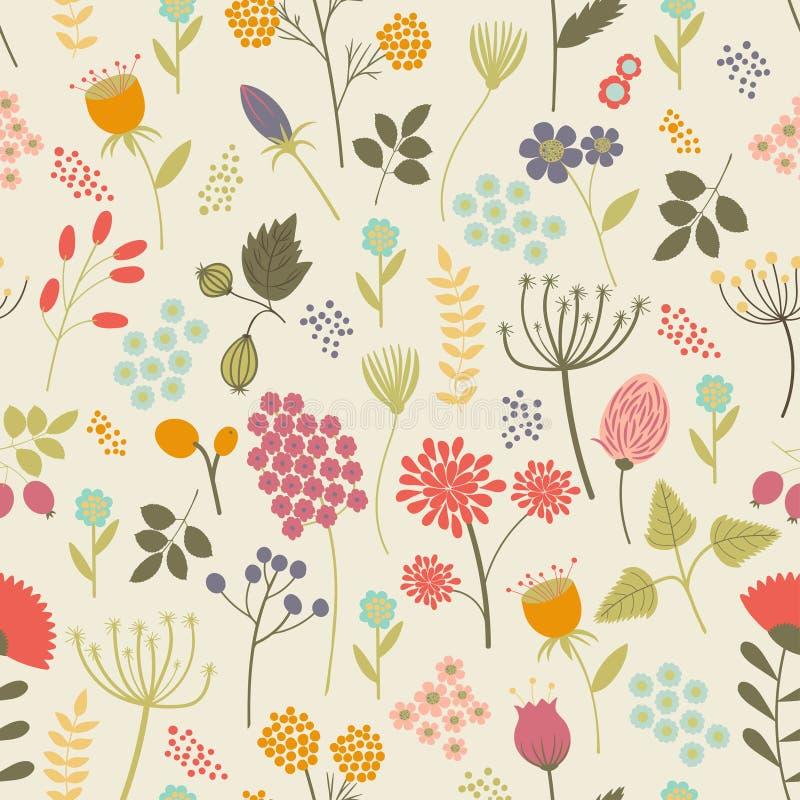 Nahtloses Muster mit Blumen und Beeren in den hellen Farben lizenzfreie abbildung