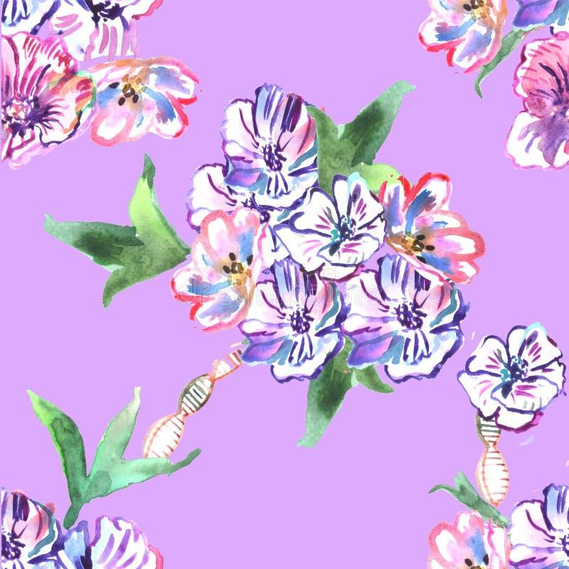 Nahtloses Muster mit Blumen watercolor vektor abbildung