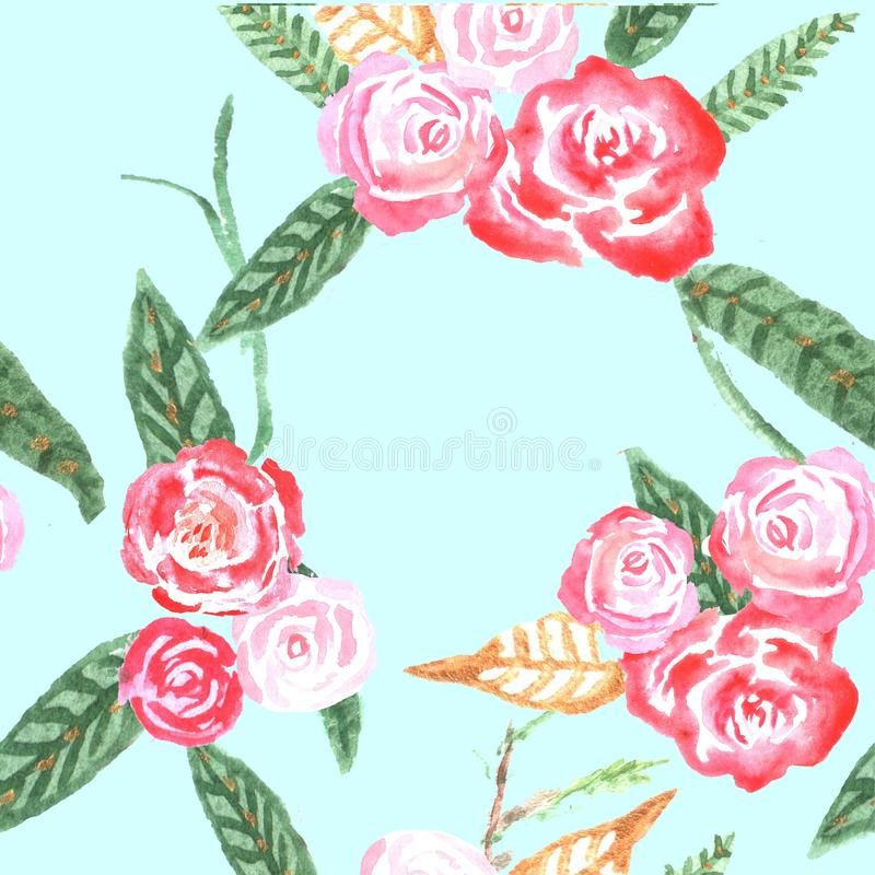 Nahtloses Muster mit Blumen watercolor lizenzfreie abbildung