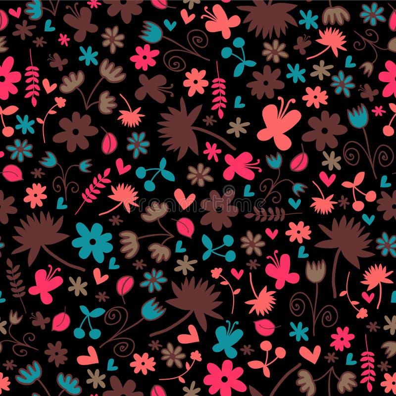 Nahtloses Muster Mit Blumenelementen Lizenzfreies Stockbild