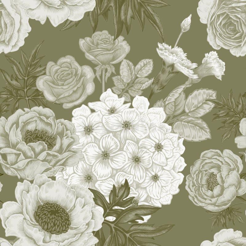 Nahtloses Muster mit Blumenrosen, Pfingstrosen, Hortensien stock abbildung