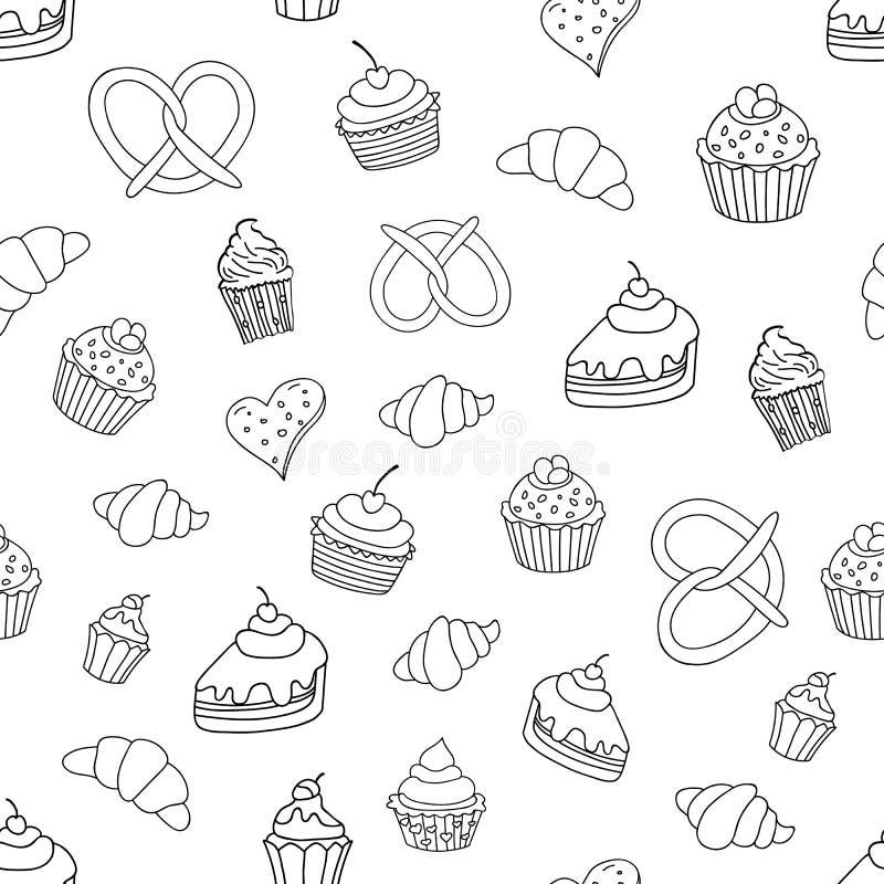 Nahtloses Muster mit Bonbons, Torten, kleine Kuchen, Eiscreme, Bäckereiprodukte Auch im corel abgehobenen Betrag lizenzfreie abbildung