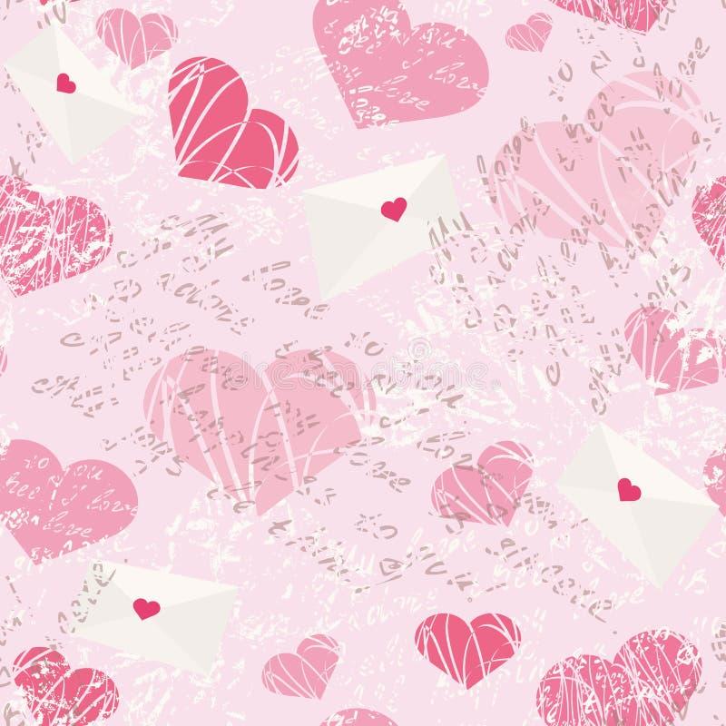Nahtloses Muster mit Buchstaben und Herzen stock abbildung
