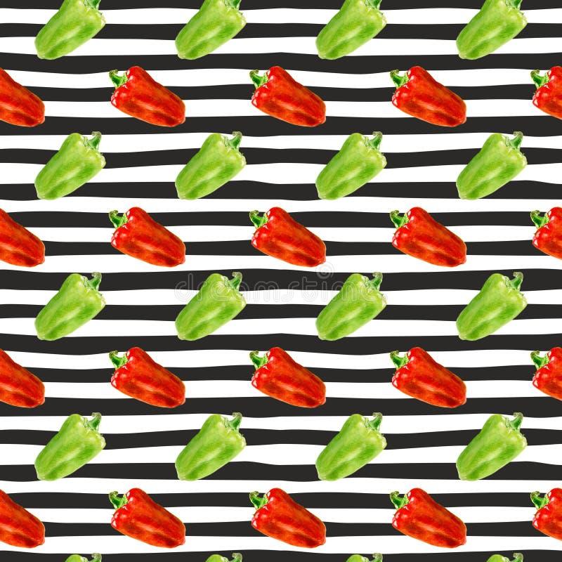 Nahtloses Muster mit bulgarischer pepperand Scheibe von Aquarellglocke papper auf Streifenhintergrund lizenzfreie abbildung