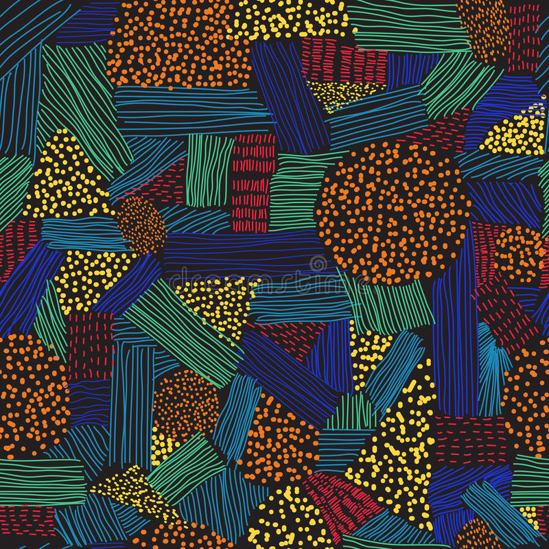 Nahtloses Muster mit bunten Anschlägen und Punkten auf dem schwarzen Hintergrund lizenzfreies stockbild