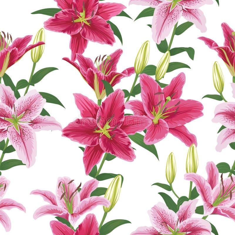 Nahtloses Muster mit bunten Lilien blühen auf weißem Hintergrund stock abbildung