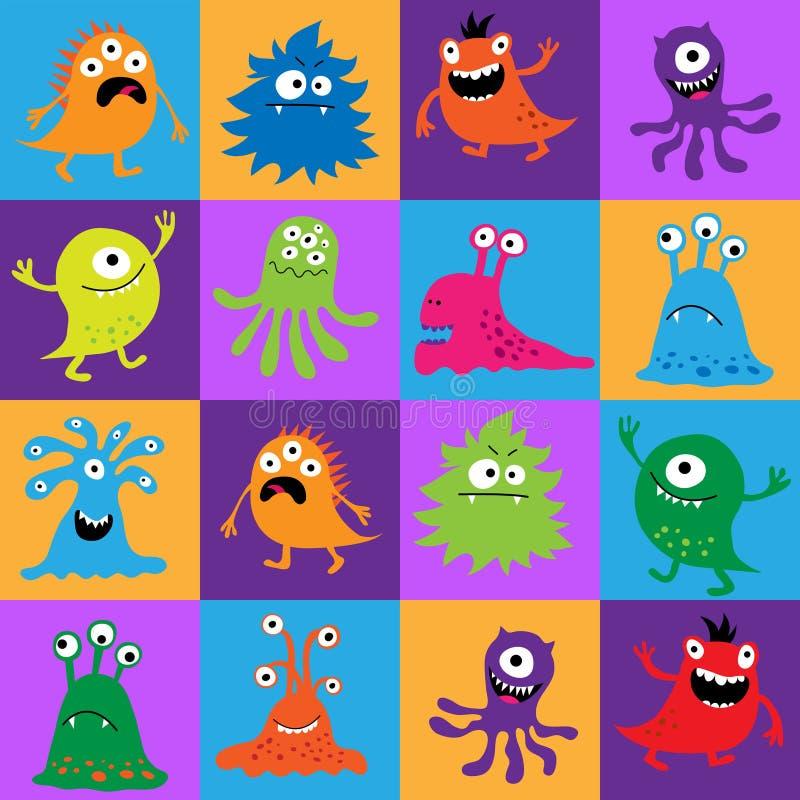 Nahtloses Muster mit bunten Monstern in den Quadraten lizenzfreie abbildung