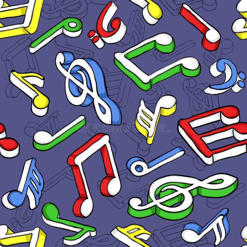 Nahtloses Muster mit bunten Musikanmerkungen lizenzfreie abbildung