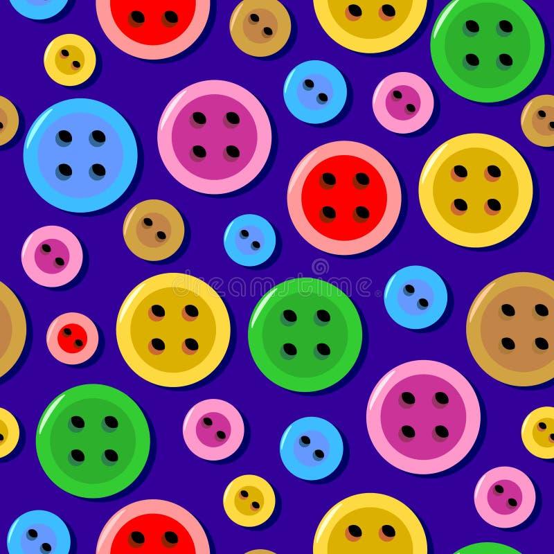 Nahtloses Muster mit bunten nähenden Knöpfen lizenzfreie abbildung