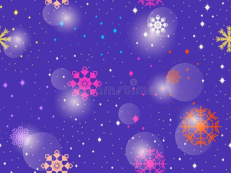 Nahtloses Muster mit bunten Schneeflocken Abstrakter Hintergrund des Winters Bokeh Effekt Vektor lizenzfreie abbildung