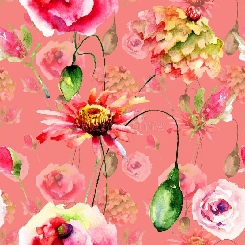 Nahtloses Muster mit bunten wilden Blumen lizenzfreie stockbilder