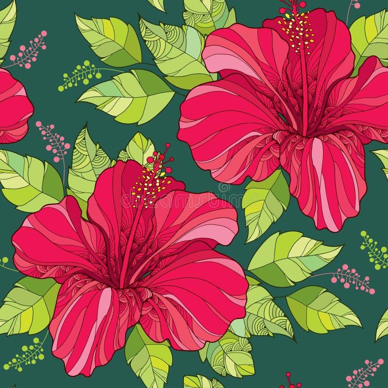 Nahtloses Muster mit chinesischem Hibiscus blühen in den roten und grünen aufwändigen Blättern auf dem dunkelgrünen Hintergrund vektor abbildung