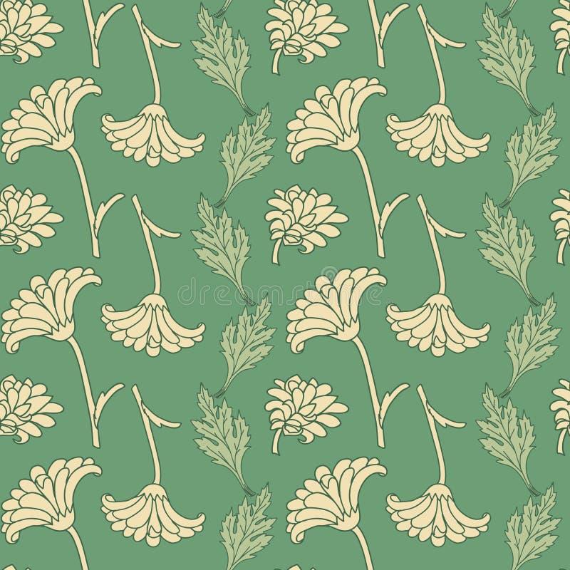 Nahtloses Muster mit Chrysanthemen lizenzfreie abbildung