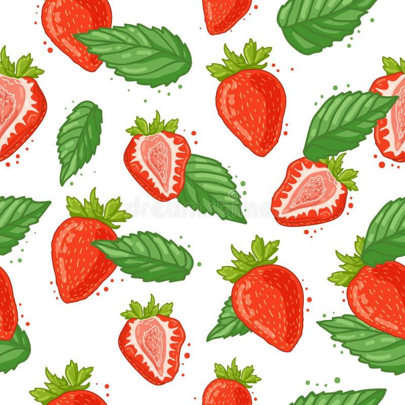 Nahtloses Muster mit Dekoration der frischen Beere, der Erdbeerscheiben und der Minze Der Hintergrund zu den Bestandteilen für vektor abbildung