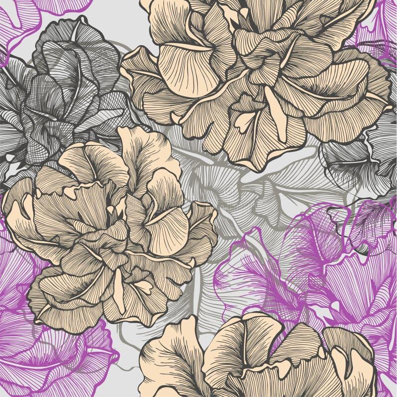 Nahtloses Muster mit dekorativen blühenden Tulpen. vektor abbildung