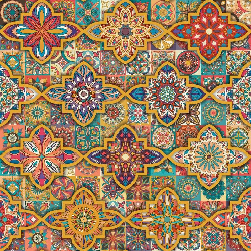 Nahtloses Muster mit dekorativen Mandalen Weinlesemandalaelemente Buntes Patchwork stock abbildung