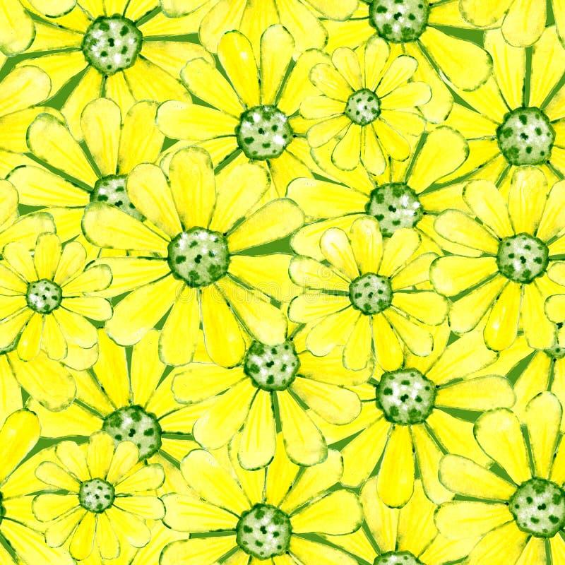 Nahtloses Muster mit dem Bild von Blumen Aquarellkarikaturillustration für Entwurf von Drucken, Aufkleber, Hintergrund, Karten, lizenzfreie abbildung