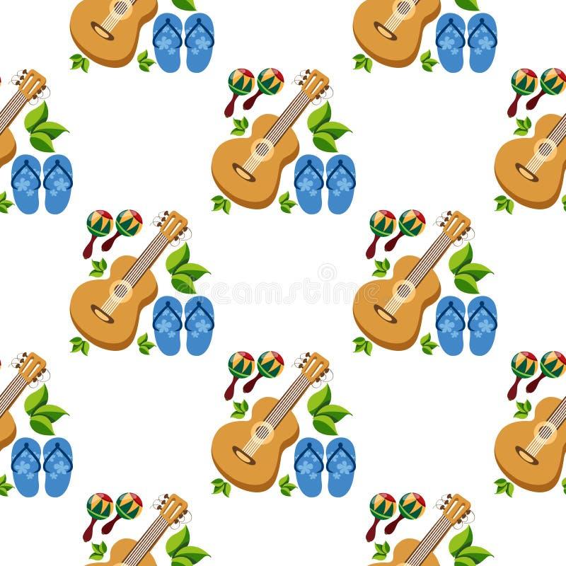 Nahtloses Muster mit dem Bild von Gitarren und von Pantoffeln lizenzfreies stockfoto