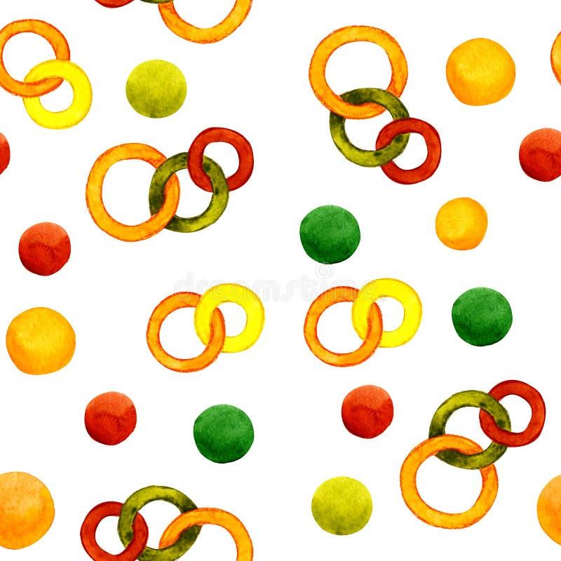 Nahtloses Muster mit dem Bild von Zahlen Aquarellzusammenfassungsillustration für Entwurf von Drucken, Aufkleber, Hintergrund, Ka vektor abbildung