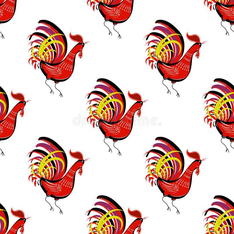 Nahtloses Muster mit dem Farbfeuerhahn, der Recht betrachtet chinesisch stock abbildung